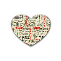 Backdrop Style With Texture And Typography Fashion Style Rubber Coaster (Heart)