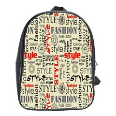 Backdrop Style With Texture And Typography Fashion Style School Bags(Large)