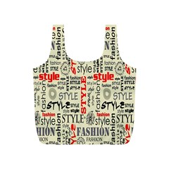 Backdrop Style With Texture And Typography Fashion Style Full Print Recycle Bags (S)