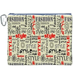 Backdrop Style With Texture And Typography Fashion Style Canvas Cosmetic Bag (XXXL)