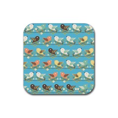 Assorted Birds Pattern Rubber Coaster (square)