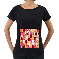 Rose Color Beautiful Flowers Women s Loose-Fit T-Shirt (Black)