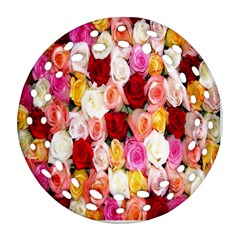 Rose Color Beautiful Flowers Round Filigree Ornament (Two Sides)