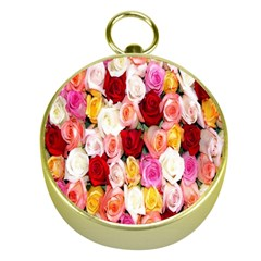 Rose Color Beautiful Flowers Gold Compasses