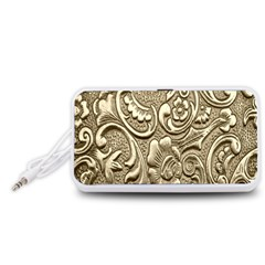 Golden European Pattern Portable Speaker (White)