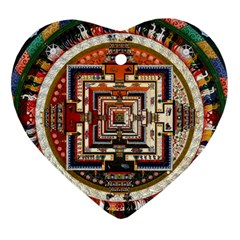 Colorful Mandala Heart Ornament (Two Sides)