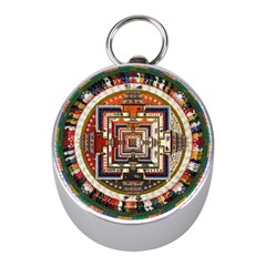 Colorful Mandala Mini Silver Compasses
