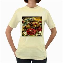 Flower Art Traditional Women s Yellow T-Shirt