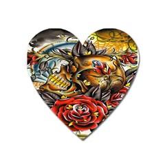 Flower Art Traditional Heart Magnet