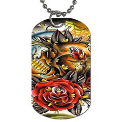 Flower Art Traditional Dog Tag (One Side)