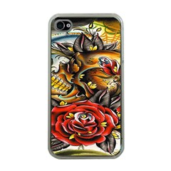 Flower Art Traditional Apple iPhone 4 Case (Clear)