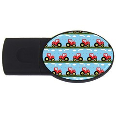 Toy Tractor Pattern Usb Flash Drive Oval (4 Gb)