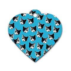 Cat pattern Dog Tag Heart (Two Sides)