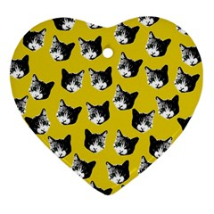 Cat pattern Heart Ornament (Two Sides)