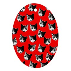 Cat pattern Oval Ornament (Two Sides)