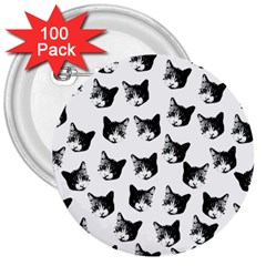 Cat pattern 3  Buttons (100 pack)