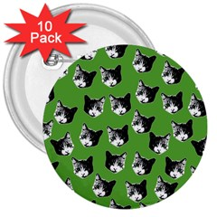 Cat pattern 3  Buttons (10 pack)