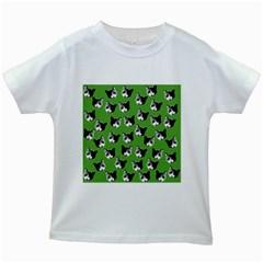 Cat pattern Kids White T-Shirts
