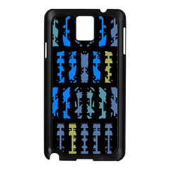 Blue shapes on a black background  Samsung Galaxy Note 3 N9005 Case (White)