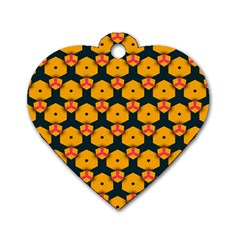 Yellow pink shapes pattern         Dog Tag Heart (One Side)