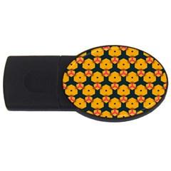 Yellow pink shapes pattern         USB Flash Drive Oval (2 GB)