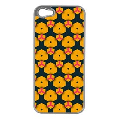 Yellow pink shapes pattern   Apple iPhone 5 Case (Silver)