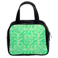 Kiwi Green Geometric Classic Handbags (2 Sides)