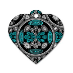 Geometric Arabesque Dog Tag Heart (one Side)