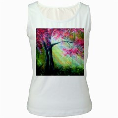 Forests Stunning Glimmer Paintings Sunlight Blooms Plants Love Seasons Traditional Art Flowers Women s White Tank Top