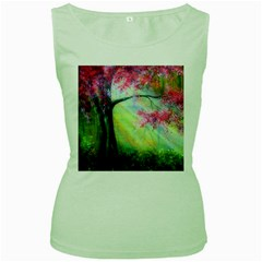 Forests Stunning Glimmer Paintings Sunlight Blooms Plants Love Seasons Traditional Art Flowers Women s Green Tank Top