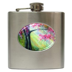 Forests Stunning Glimmer Paintings Sunlight Blooms Plants Love Seasons Traditional Art Flowers Hip Flask (6 oz)