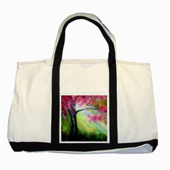 Forests Stunning Glimmer Paintings Sunlight Blooms Plants Love Seasons Traditional Art Flowers Two Tone Tote Bag