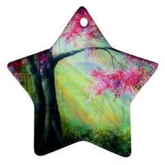 Forests Stunning Glimmer Paintings Sunlight Blooms Plants Love Seasons Traditional Art Flowers Star Ornament (Two Sides)