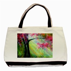 Forests Stunning Glimmer Paintings Sunlight Blooms Plants Love Seasons Traditional Art Flowers Basic Tote Bag (Two Sides)