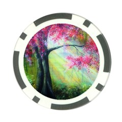 Forests Stunning Glimmer Paintings Sunlight Blooms Plants Love Seasons Traditional Art Flowers Poker Chip Card Guard
