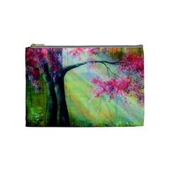 Forests Stunning Glimmer Paintings Sunlight Blooms Plants Love Seasons Traditional Art Flowers Cosmetic Bag (Medium)