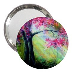 Forests Stunning Glimmer Paintings Sunlight Blooms Plants Love Seasons Traditional Art Flowers 3  Handbag Mirrors