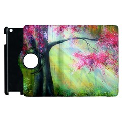 Forests Stunning Glimmer Paintings Sunlight Blooms Plants Love Seasons Traditional Art Flowers Apple iPad 2 Flip 360 Case