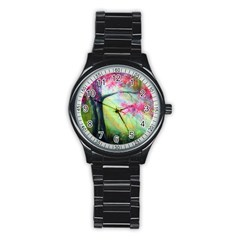 Forests Stunning Glimmer Paintings Sunlight Blooms Plants Love Seasons Traditional Art Flowers Stainless Steel Round Watch