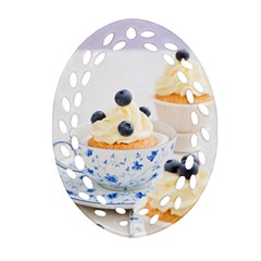 Blueberry Cupcakes Ornament (oval Filigree)
