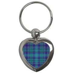 Plaid design Key Chains (Heart)