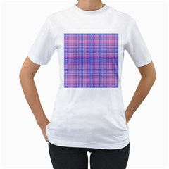 Plaid design Women s T-Shirt (White) (Two Sided)