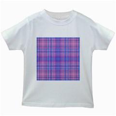 Plaid design Kids White T-Shirts