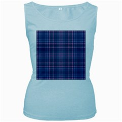 Plaid design Women s Baby Blue Tank Top