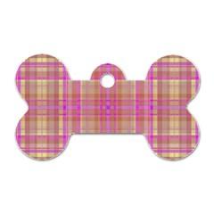 Plaid design Dog Tag Bone (One Side)