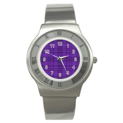 Plaid design Stainless Steel Watch