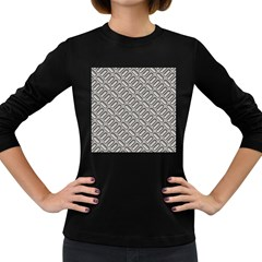 Grey Diamond Metal Texture Women s Long Sleeve Dark T-Shirts