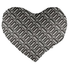 Grey Diamond Metal Texture Large 19  Premium Heart Shape Cushions