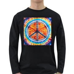 Tie Dye Peace Sign Long Sleeve Dark T-Shirts