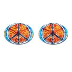 Tie Dye Peace Sign Cufflinks (Oval)